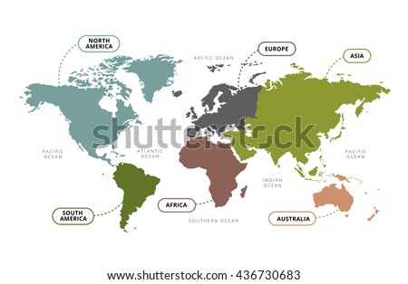 Vector world map continents section name stock photo photo vector vector of world map with continents section name gumiabroncs Image collections
