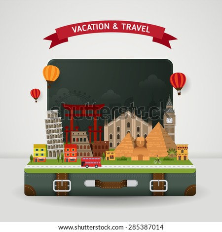 Vector of world travel and Holidays concept. Open suitcase with famous monument around the world. - stock vector