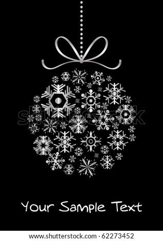 Vector of xmas ball made of silver snowflakes - stock vector