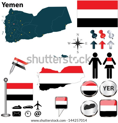 Vector of Yemen set with detailed country shape with region borders, flags and icons - stock vector