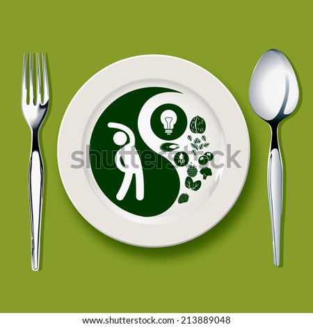 Vector of Yin yang symbol on white plate with spoon and fork on green background balanced concept - stock vector