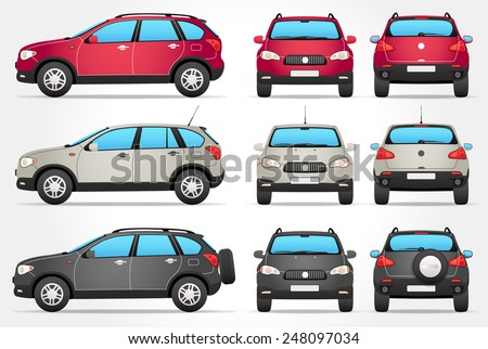 Vector Off-road Car - Side - Front - Back view - stock vector
