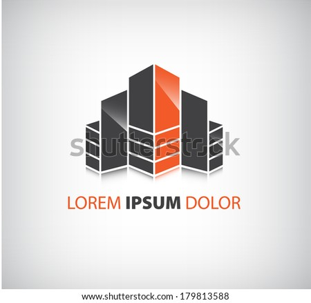 vector office builing icon, logo isolated, identity - stock vector