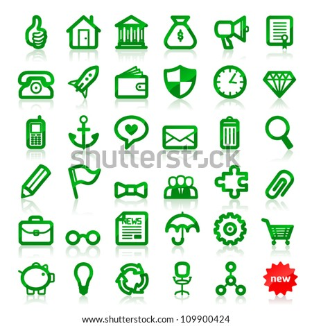 Vector office business and finance web icon pack simple edition - stock vector