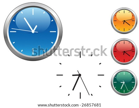 VECTOR. Office clocks and dial isolated on white - stock vector