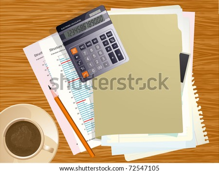 Vector office desktop. Business calculator, cup of coffee, blank paper, reports and crumpled papers on wooden office desktop. - stock vector