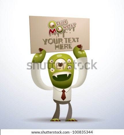 vector  office monster 1 - stock vector