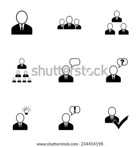 Vector office people icon set on white background - stock vector