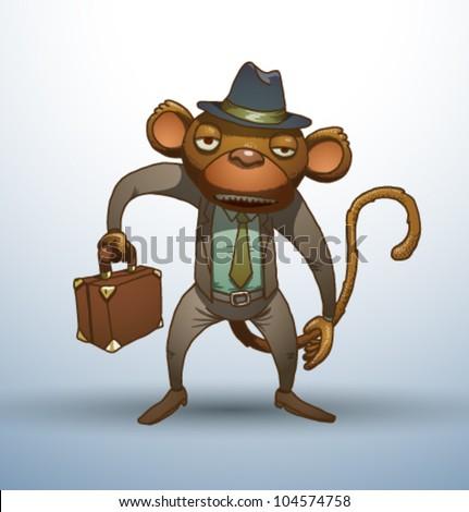 Vector Office stupid monkey 2 - stock vector