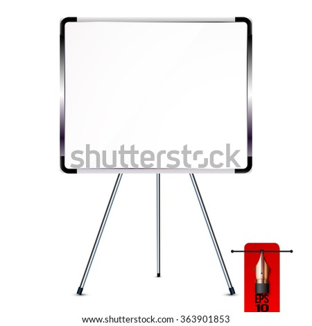 Vector office whiteboard of flip chart on metal tripod