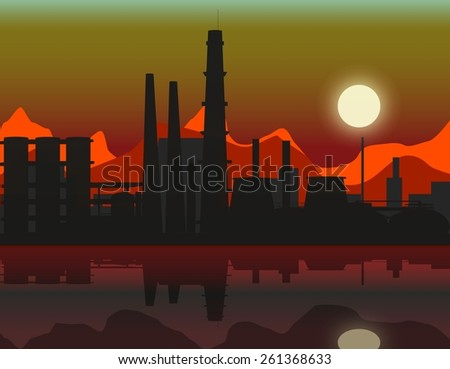 Vector  oil refinery plant background