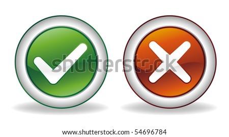 vector ok and cancel button set - stock vector