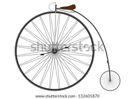 Vector. Old bicycle with a big wheel on a white background.