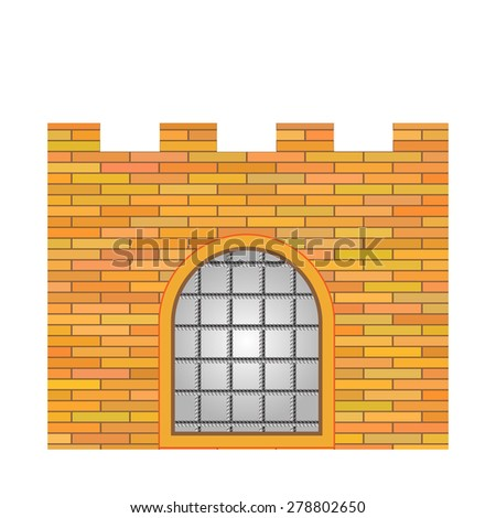 Vector Old Brick Castle Isolated on White Background