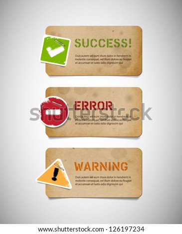 Vector old cardboard interface dialog boxes with paper icons - stock vector