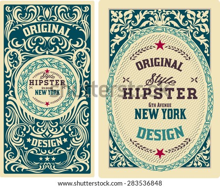 Vector. Old cards with floral details. Elements organized by layers. - stock vector