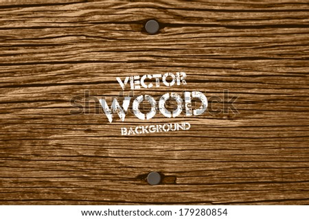 Vector old dry brown wood background with two rusty nails - stock vector