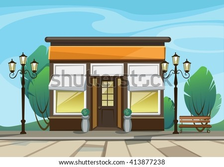 Vector Old Europian Shop Boutique Store Front with Big Windows, Place for Name, Greenery and Street Lanterns - stock vector