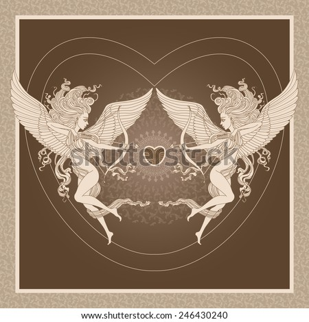 Vector old-fashioned  greeting card  with funny cartoon Cupids,  arrows and Valentine heart on brown background and beige decorated frame - stock vector