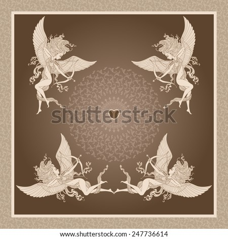 Vector old-fashioned  greeting card  with funny cartoon Cupids,  arrows and Valentine heart on brown background - stock vector