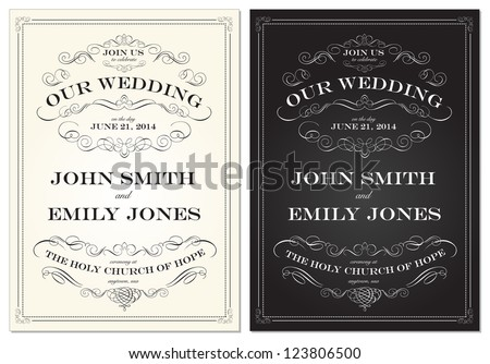 Vector Old Fashioned Wedding Frame Set. Easy to edit. Perfect for invitations or announcements. - stock vector