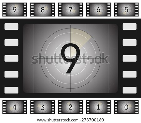 Vector old film countdown with scratches and vorse for your animation. - stock vector