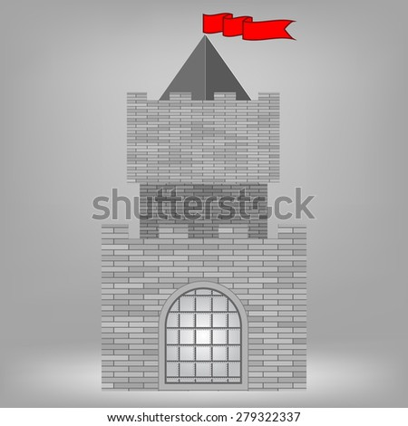 Vector Old Grey Brick Castle on Grey Background