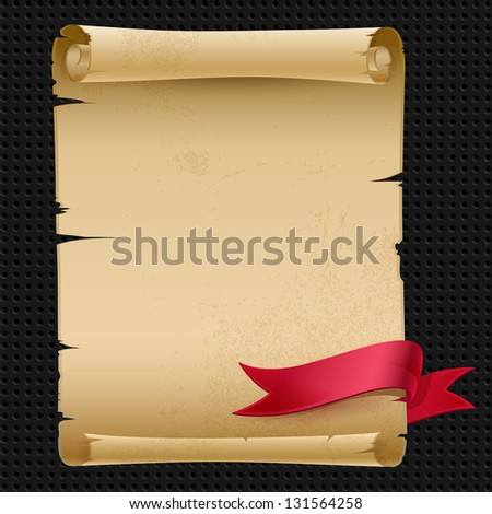 Vector old manuscript with a red ribbon - stock vector