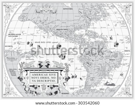 Vector old map of South and North America: In Latin - stock vector