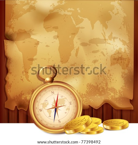 vector old map with a compass and pirate coins on a wooden background - stock vector