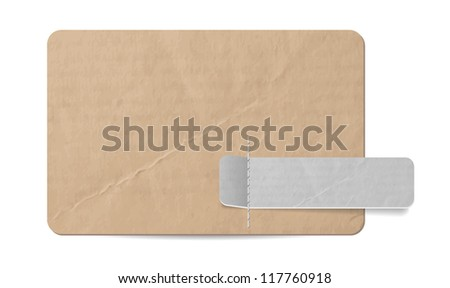 Vector old paper banner with cardboard tag attached with stitches