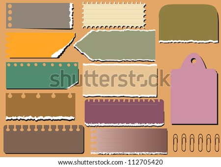 vector old paper - different aged paper objects for your layouts - stock vector