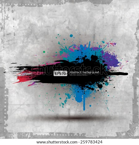 Vector Old Paper Ink Splat Colourful Banner