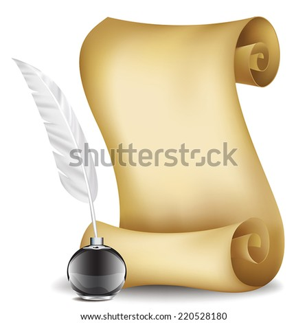 vector old paper scroll with feather and inkwell - stock vector
