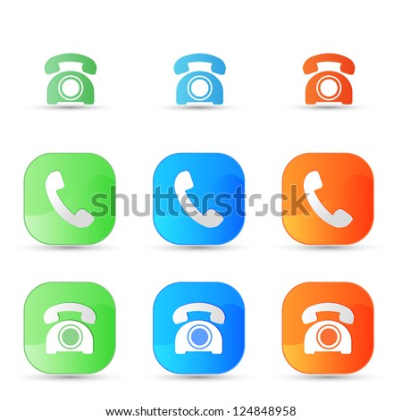 vector old phone icons - stock vector