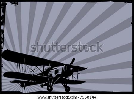 vector old plane - stock vector