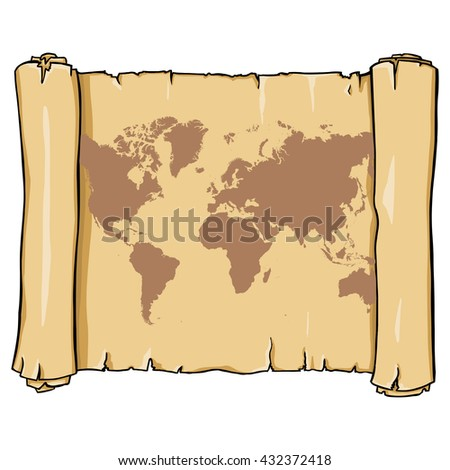 Vector Old Scroll with World Map