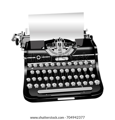 vector old style isolated typewriter in black and white