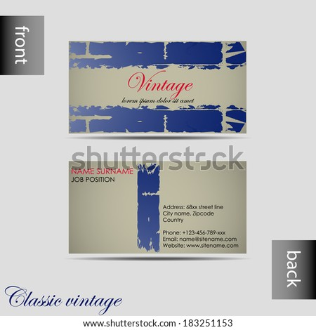 Vector old-style retro vintage business card with front and back side