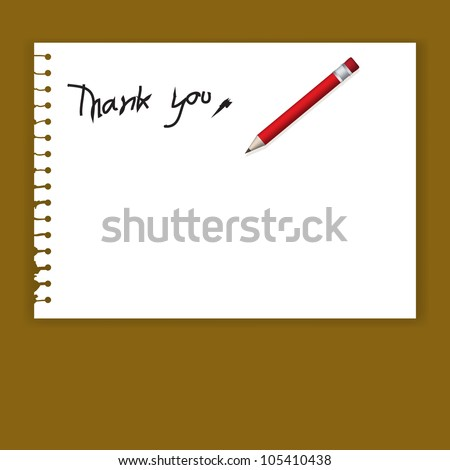 Vector Old Torn Paper  with Thank You Word and Red Pencil - stock vector