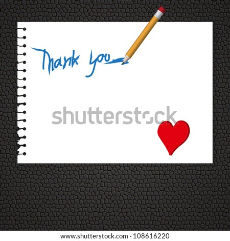 Vector,Old torn paper with Thank You word writting by yellow pencil with red heart on black leather pad - stock vector