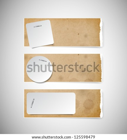 Vector old used brown cardboard torn paper banners with white paper notes attached with staples