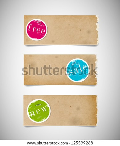 Vector old used stained torn paper banners with colorful round paper tags attached with staples