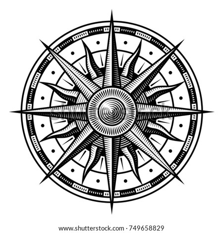 Vector Old Vintage Compass On White Background