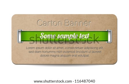 Vector old vintage paper / cardboard banner with two metallic decorated perforations and green ribbon - stock vector