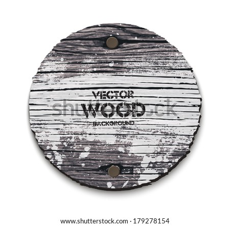 Vector old wooden round sign with two nails and grungy white paint - stock vector