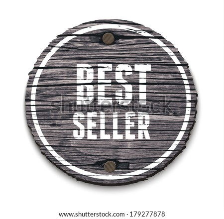 Vector old wooden round sign with two nails: Best seller - stock vector