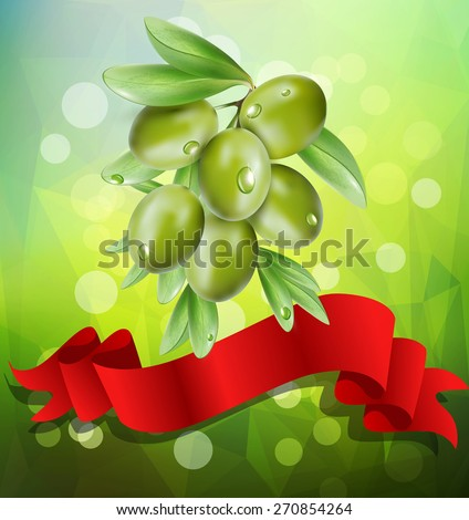 vector olive branch with red ribbon on a green background with bokeh - stock vector