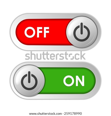 Vector On Off Green and Red Sliders - stock vector