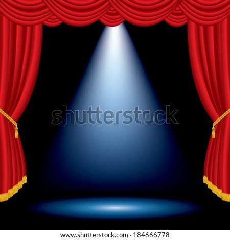 vector one blue spot on stage with red curtain - stock vector